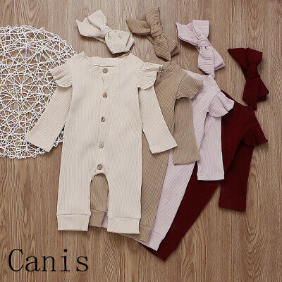 AUNewborn Baby Girl Boy Striped Romper Jumpsuit Pajamas Sleepwear Outfit Clothes