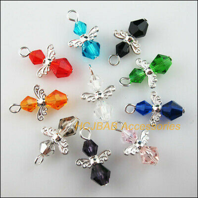 10Pcs Silver Plated Wings Mixed Crystal Beads Angel Charms Pendants 14x23mm