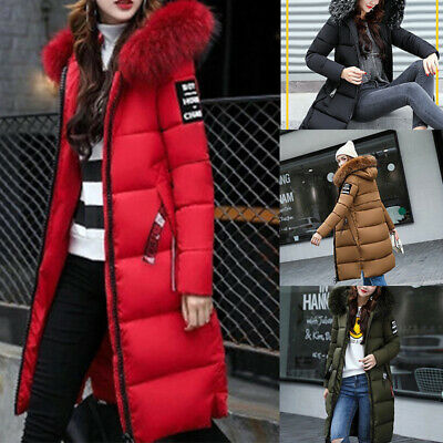 Winter Womens Puffa Jacket Fur Hooded Ladies Long Padded Quilted Coat Plus Size