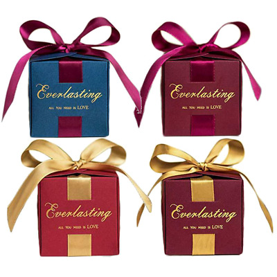 50/100pcs Square Candy Chocolate Cookie Boxes Wedding Birthday Party Box Gift