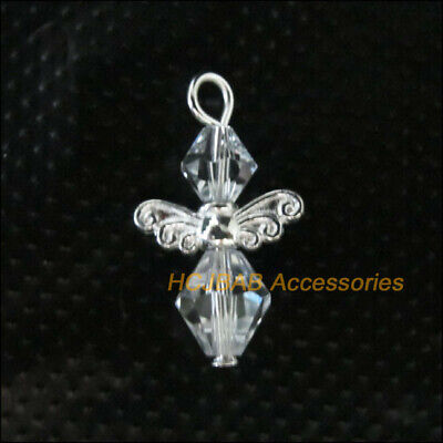 10Pcs Silver Plated Wings Clear Crystal Beads Angel Charms Pendants 14x23mm