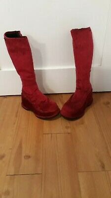 retro 1970's red peppers velvet platform boots size 6 1/2 to 7?