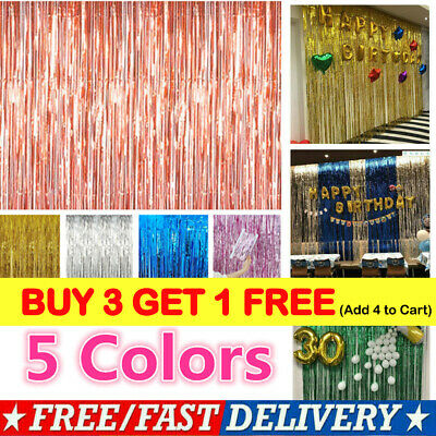 2-3M Foil Fringe Tinsel Shimmer Curtain Door Wedding Birthday Party^DECORATIONS