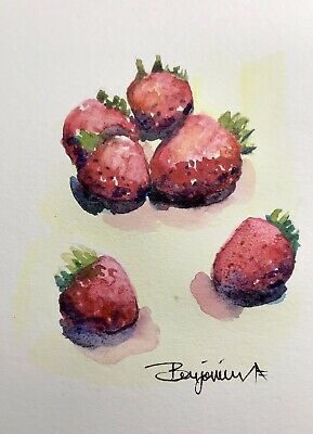 "Original Nova Scotia Watercolor Art, ""Strawberry Season"",  Not A print!"