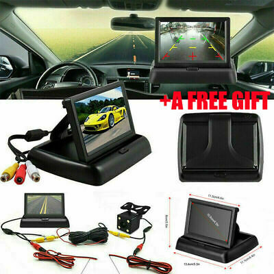 "Car Backup Camera Rear View System Waterproof + Foldable 4.3"" TFT LCD Monitor"