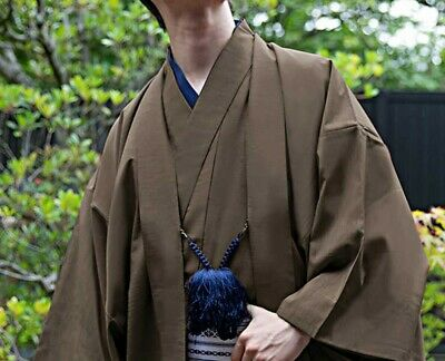 Japanese Mens Kimono HAORI Jacket Coat Silk Chestnut 4 Size Fast Ship Japan EMS
