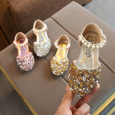 Toddler Girls Ankle Pearls Strap Sequin Sandals Kids Baby Princess Wedding Shoes