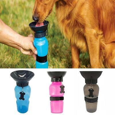 500ML Portable Pet Water Bottle Dispenser Dog Cat Puppy Travel Feeder Tray Bowl