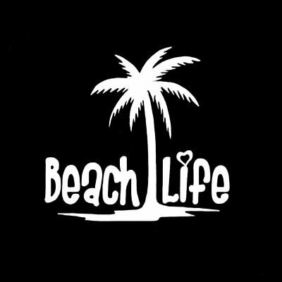"BEACH Bum Sunglasses 8/"" X 22/"" Decal Sticker Ocean Window Windshield Palm tree"