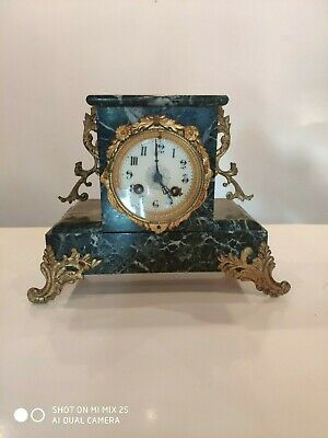Antique Vintage French Japy Freres Paris Black & Grey Gilt Marble Clock Art Deco
