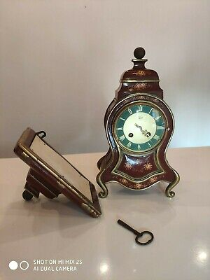 Antique French Silvoz Paris Ornate Mantel Clock With Key + Shelf Enamel