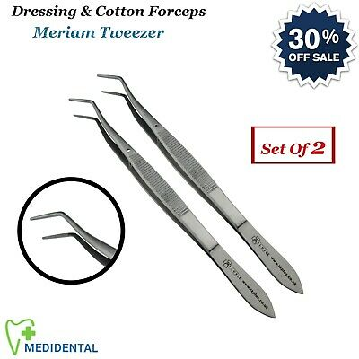 2-PCs Surgical Dental Dressing Thumb Forceps Mariam Tweezer Laboratory Tools NEW