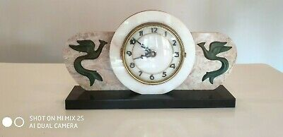 Antique Vintage French Bayard Marble Mantel Clock - Art Deco