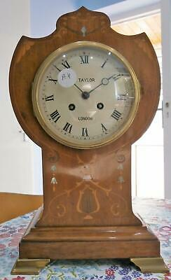Mahogany Inlaid French Balloon Clock in Good Working Order