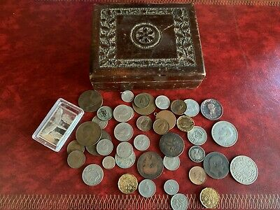 Job lot of unsorted mixed British coins and Silver Ingot in Old Wooden Box
