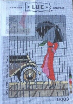 Printed Mono Canvas (Long Stitch) - Lady and Car - LUC