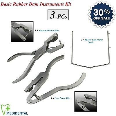 3-PCs Rubber Dam Instruments Kit Ainsworth, Ivory Punch Hole Plier Dentistry NEW