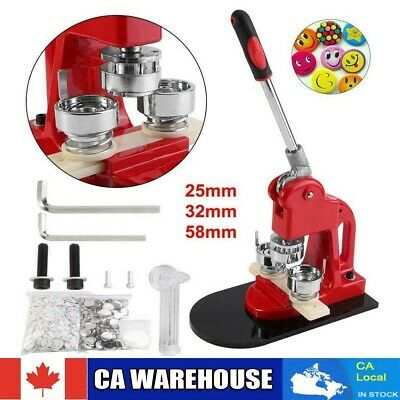 25/32/58mm Badge Button Maker Machine Press+1000 Parts+Circle Cutter CA Shipping