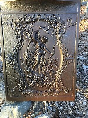 Antique Victorian Cast Iron Fireplace Insert Woman Huntress With 🦌 Deer