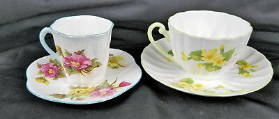 2 Vintage Shelley Fine Bone China Dainty Cups and Saucers Primrose 13427