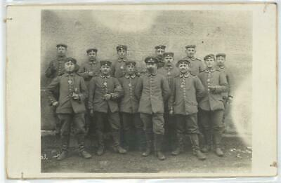 52751016 - German WWI Proud Iron Cross Soldiers (designed Backside!!!) RPPC WK I