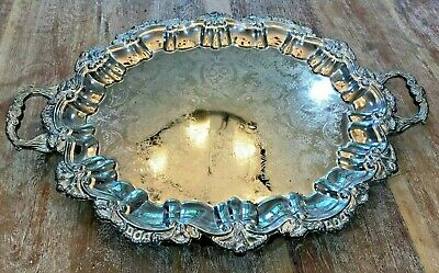 Vintage Large Silver Tea Tray Platter  23x16 Ornate Handles, Feet Unmarked HEAVY