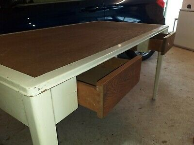 Campaign Table, in need of renovation, solid wood, 2 drawers, 4 removable legs
