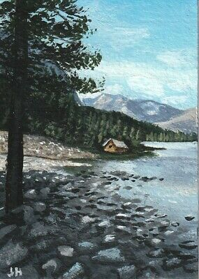 "aceo original acrylic painting ""Lake Shore Cabin"" by J. Hutson"
