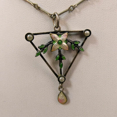 Antique Sterling Silver & Enamel Arts & Crafts Pendant & 16 Inch Chain