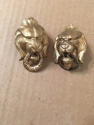 Antique Cast Metal Lion Head Decorations Knocker Pull From Ansonia Mantle Clock