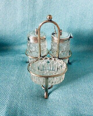 A Vintage Silver plated Cruet Set. Mustard/Pepper/Relish. EP