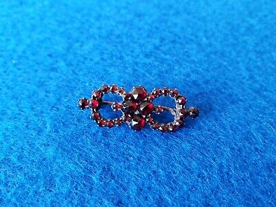Antique Art Nouveau Sterling Silver Victorian Bohemian Garnet Brooch Pin Nice!!