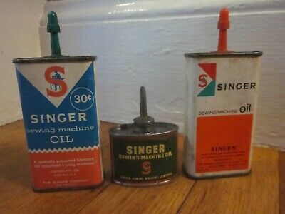 Vtg Singer Sewing Machine Handy Oiler Tin Oil Can x3 1 Lead Top 1 Unused FreeS&H