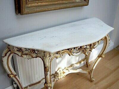 Antique Style French Gilt Console Table - Louis XVI Rococo