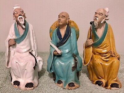 3 Chinese Porcelain Ceramic Statues ~ Hand Painted ~ Wise Men