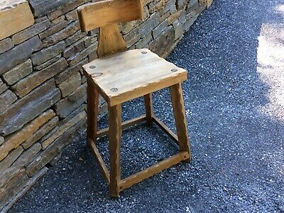 Rustic Vintage French Country Wood Stool Chair Work Counter Dining Adirondack