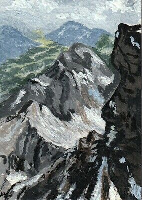 "aceo original acrylic painting ""High on a Mountain Top"" by J. Hutson"