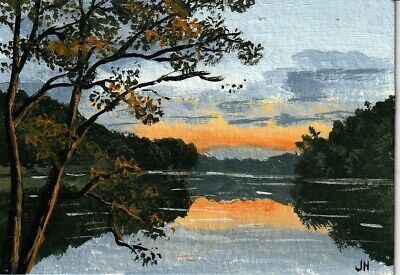 "aceo original acrylic painting ""The Sun in the Evening"" by J. Hutson"