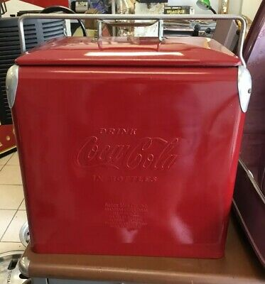 Coca Cola Coke Red Cooler Ice Chest Box w/ Bottle Opener + Drain Acton 1950s