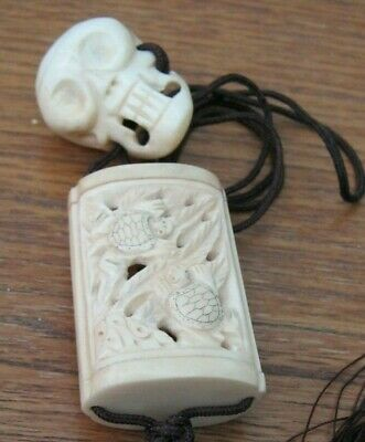 Beautiful Hand Carved Bovine Bone Inro With Unusual Skull Netsuke Momento Mori