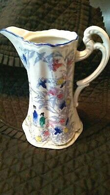 Vintage Japanese Blu & White Floral Garden Woman In kimono Tall Large Pitcher