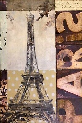 PARIS EIFFEL TOWER France French Louvre Notre Dame Provence Cafe Art Painting