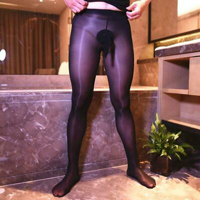 Quality Men's Oil Shiny Glossy Pantyhose Nylon Stockings Tights Sheath Pouch