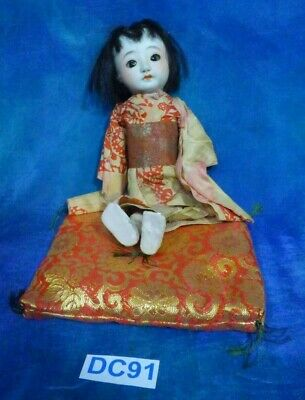 Antique Vintage 1930s Itchimatsu Bisque Japan Doll Orig Kimono Sleep Eyes DC91