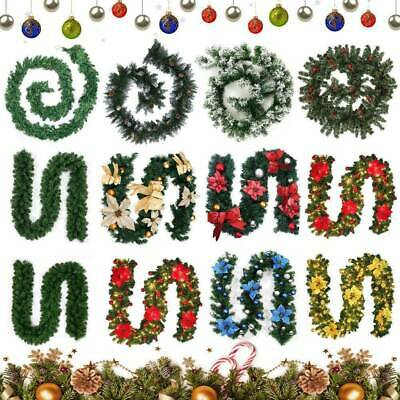 6FT/9FT Christmas Garland Pre-Lit with Lights Fairy Xmas Fireplace Decorations