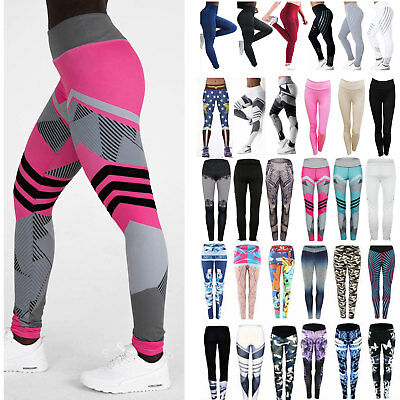 Womens High Waist Leggings Yoga Pants Athletic Fintness Stretch Running Trousers