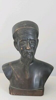 Vintage Asian Bronze Man Bust