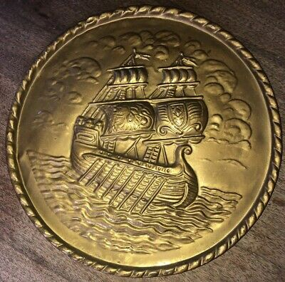 "Vintage Peerage Embossed Brass Wall Plate 10.5""  Made in England Ship Scene"