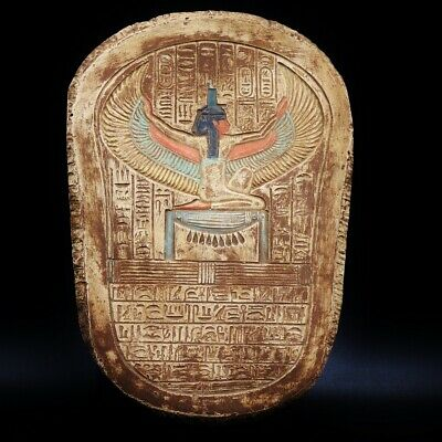 Antique Wall Plaque Ancient Egyptian Goddess ISIS Winged Stela Fragment Relief