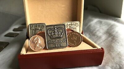 UNIQUE 1971 to 1984 NEW HALF PENCE MINT COINS IN ROSE GOLD CUFFLINKS .b8